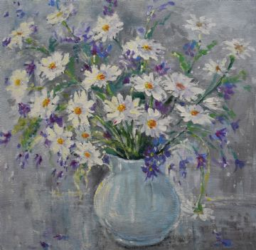 Caroline Barnett (Illsley) Original Acrylic Painting Still Life Of Daisies Flowers
